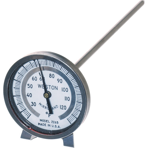 """Weston Stainless Steel Photographic Thermometer 1.75"""" Dial with 6"""" Stem and Clip (Temperature Range 25-125F)"""