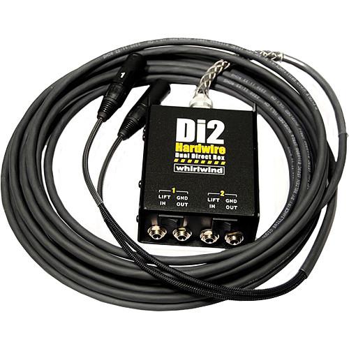 Whirlwind DI2-050-BK Di2 Hardwired Dual Direct Box with XLR Fanout (50', Black)