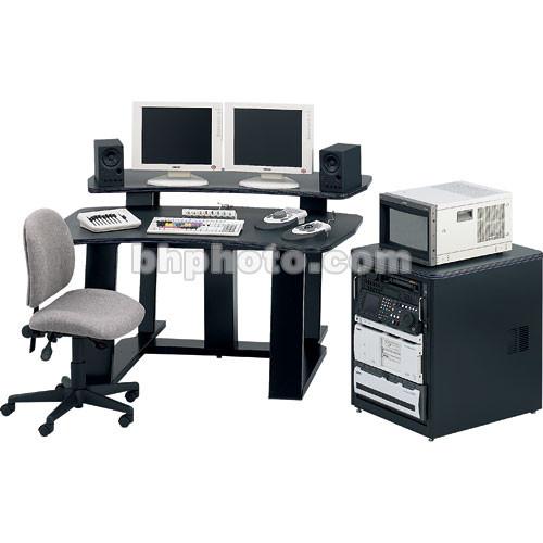 "Winsted E4520 59""-Wide Digital Desk with 24.5"" Rack (Black Granite/Blue Trim)"