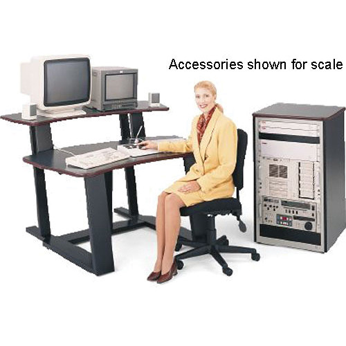 "Winsted E4523 59""-Wide Digital Desk with 35"" Vertical Rack (Black Granite/Red Trim)"