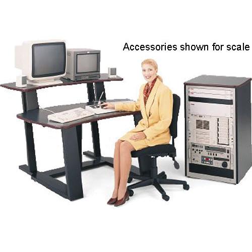 "Winsted E4523 59""-Wide Digital Desk with 35"" Vertical Rack (Black Granite/Red Trim)"