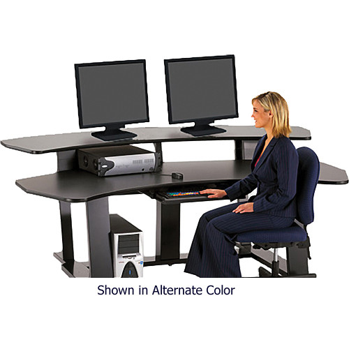 "Winsted E4563 94""-Wide Digital Desk with Curved Table Top (Black)"