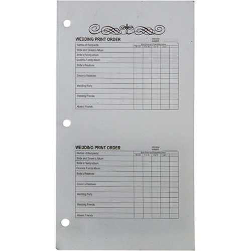 """Winthrop-Atkins Order Forms for Proof Album Book - 5 x 5"""""""