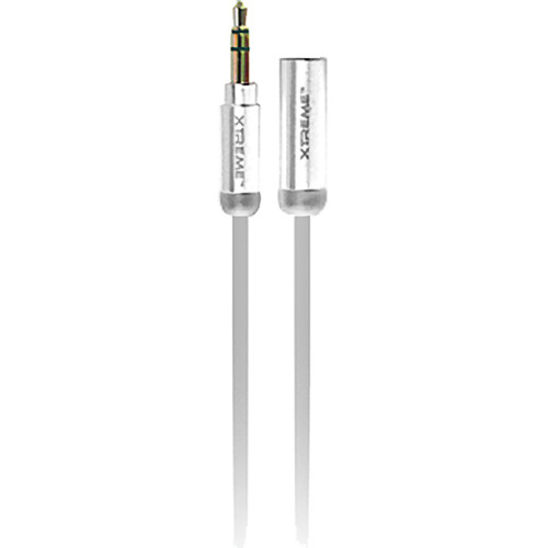 Xtreme Cables Mini 3.5mm Metallic Audio Extension Cable - 6' (White)