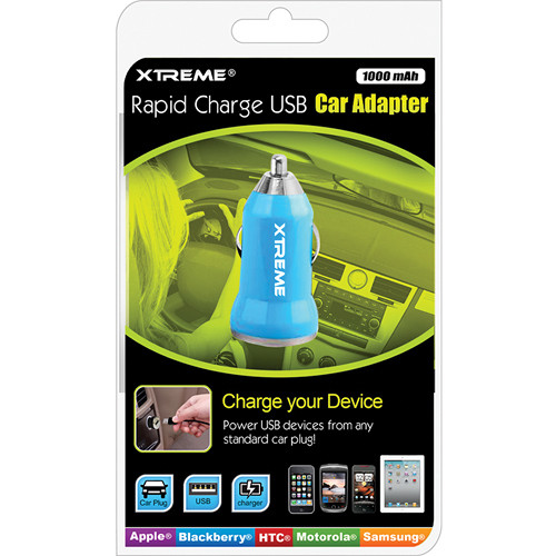 Xtreme Cables Rapid Charge USB Car Adapter (Blue)