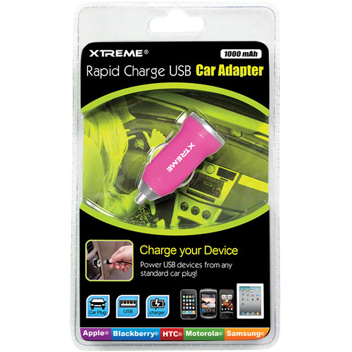 Xtreme Cables Rapid Charge USB Car Adapter (Pink)