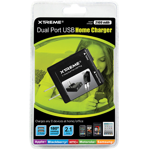 Xtreme Cables Dual Port USB Home Charger (Black)