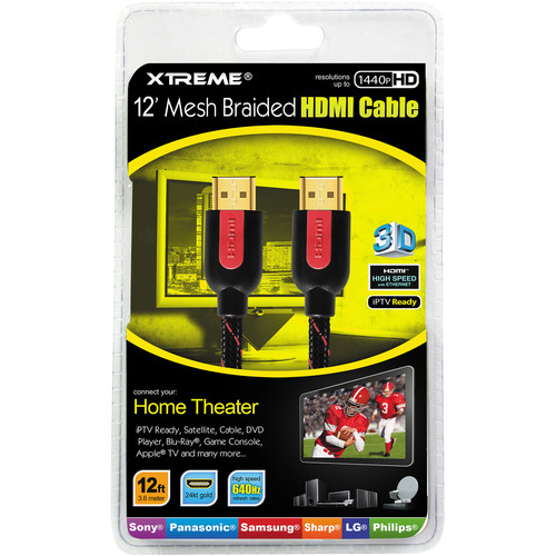 Xtreme Cables 12' High-Speed Braided HDMI Cable With Ethernet