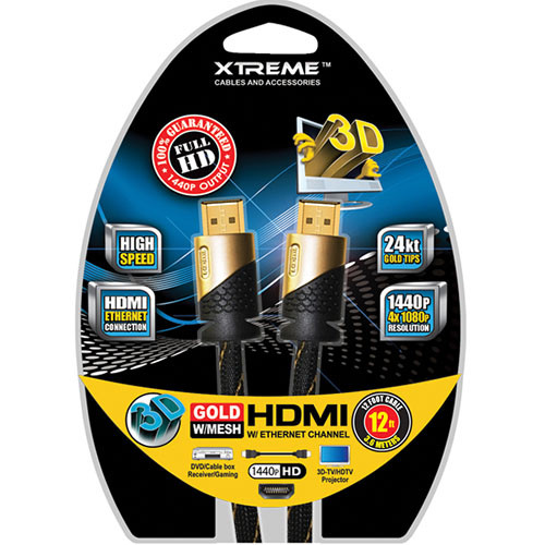 Xtreme Cables High-Speed Gold & Braided HDMI Cable With Ethernet - 12'