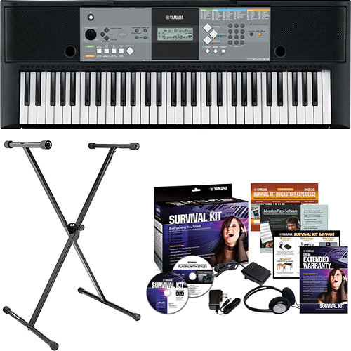 Yamaha psr e233 61 key portable keyboard basics b h kit b h for Yamaha credit application