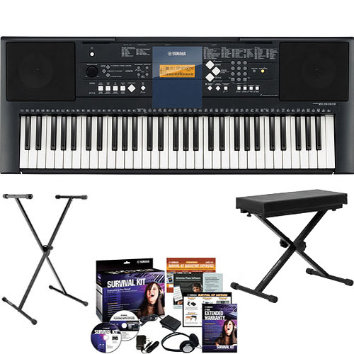 Yamaha PSR E-333 with KS7190 Stand, Keyboard Bench and Survival Kit B2