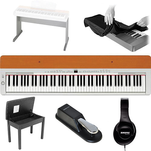 Yamaha P-155 Home Value Bundle (Silver/Cherry)
