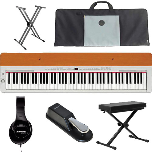 Yamaha P-155 Performance Value Bundle (Silver/Cherry)