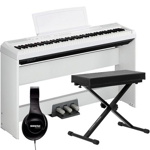 yamaha p 105 88 key piano home studio bundle white b h photo. Black Bedroom Furniture Sets. Home Design Ideas