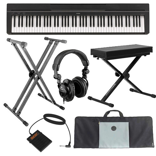 yamaha p 35 compact 88 key piano essentials bundle black b h. Black Bedroom Furniture Sets. Home Design Ideas
