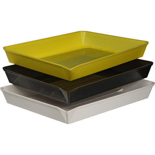 """Yankee Plastic Ribbed Developing Tray for 11x14"""" Paper - Set of 3"""