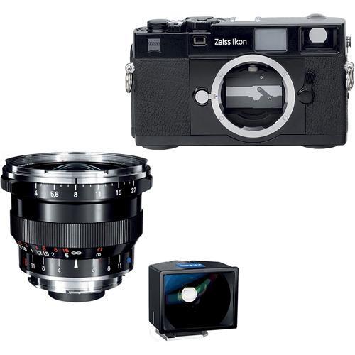 Zeiss Zeiss Ikon Rangefinder Film Camera, 18mm f/4 Distagon T* ZM Lens, 18mm ZI Viewfinder Bundle (Black)