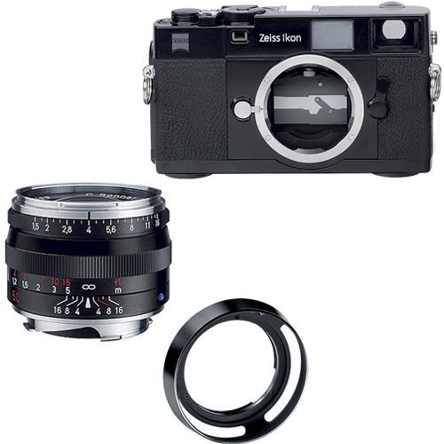 Zeiss Ikon Rangefinder Film Camera, 50mm f/1.5 C Sonnar T* ZM Lens Bundle (Black)