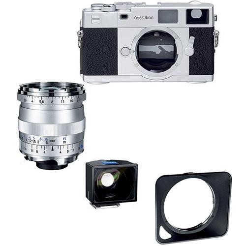Zeiss Ikon Rangefinder Film Camera, 21mm f/ 2.8 Biogon T* ZM Lens, 21mm ZI Viewfinder Bundle (Silver)