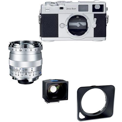Zeiss Ikon Rangefinder Film Camera, 21mm f/ 2.8 Biogon T* ZM Lens, 21mm ZI Viewfinder Bundle (Silver)
