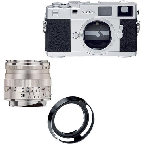 Zeiss Ikon Rangefinder Film Camera, 35mm f/2 Biogon T* ZM Lens Bundle (Silver)