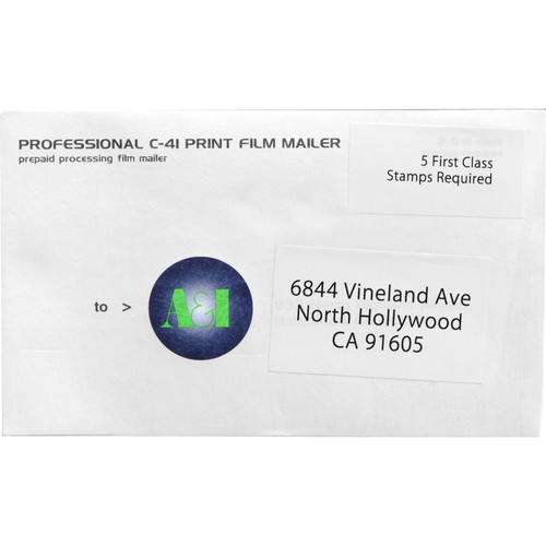 A&I Processing, Printing, and CD Mailer for 35mm Color Negative Film