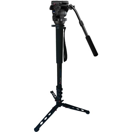 Acebil H805 Flat Base Fluid Head with MP-E180 Monopod for DV HDV Cameras/S11