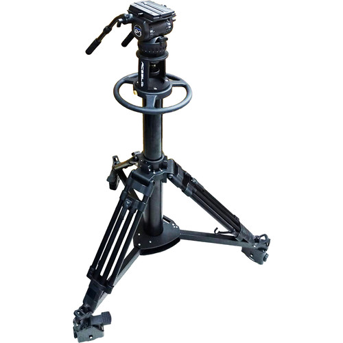 Acebil Pedestal PD3800 with Carrying Case + Dolly D9 + CH7 Head with Dual Pan Bars
