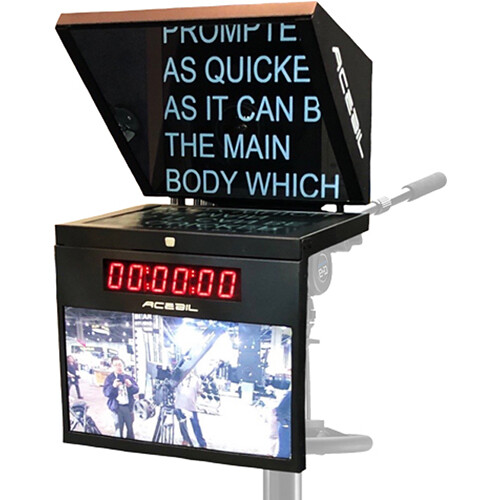 "Acebil 21"" Studio Prompter System with Time Code Clock, Talent Monitor, and Controller"