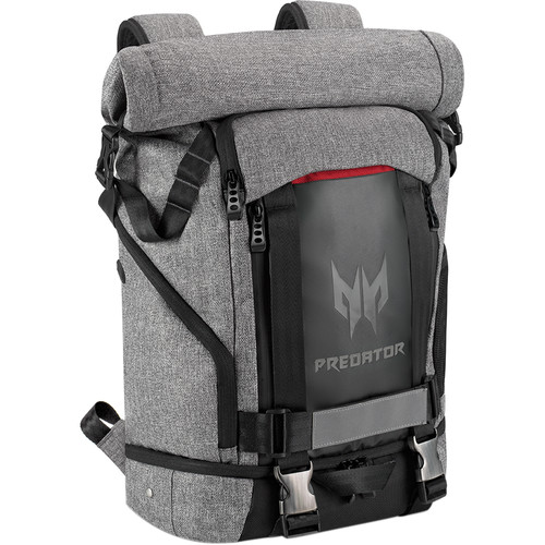 """Acer Predator 15"""" Laptop Gaming Rolltop Backpack (Black & Gray with Red Accents)"""