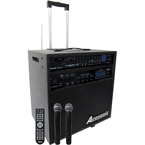 Acesonic USA PK-2000 160W Blu-Ray All-In-One System with Dual VHF Wireless Microphones