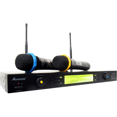Acesonic USA UHF-5200 Dual-Channel Wireless Microphone System with Receiver