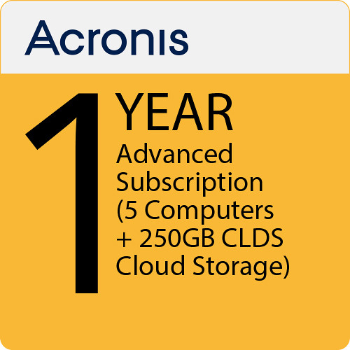 Acronis 1-Year True Image 2019 Advanced Subscription with 250GB Cloud Storage (5 Computers)