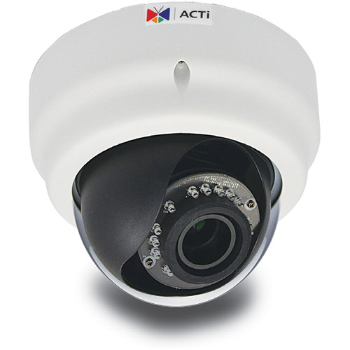 ACTi D64A 1MP IR Day/Night IP 720p Indoor Dome Camera with Audio Support and 2.8 to 12mm Varifocal Lens