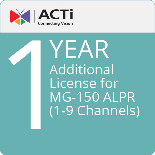 ACTi LLPR8100 Additional 1-Year License for MG-150 ALPR (1-9 Channels)