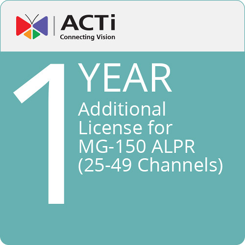 ACTi LLPR8102 Additional 1-Year License for MG-150 ALPR (25-49 Channels)