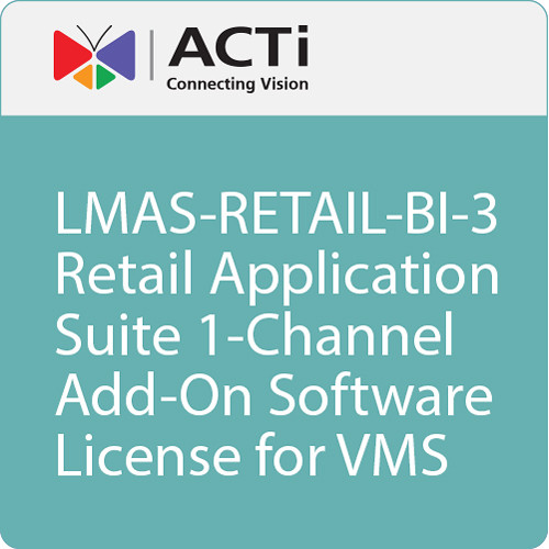ACTi LMAS-RETAIL-BI-3 Retail Application Suite 1-Channel Add-On Software License for VMS