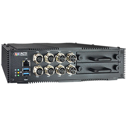 ACTi MNR-121P 9-Channel 2-Bay Transportation Standalone NVR with Eight M12 PoE Ports (No HDD)