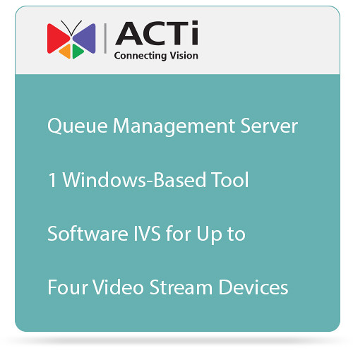 ACTi Queue Management Server 1 Windows-Based Tool Software IVS for Up to Four Video Stream Devices
