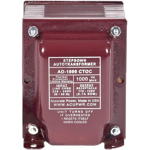 ACUPWR AD1000IEC Type-H 1000W Step-Down Voltage Transformer with Type-H IEC Plug