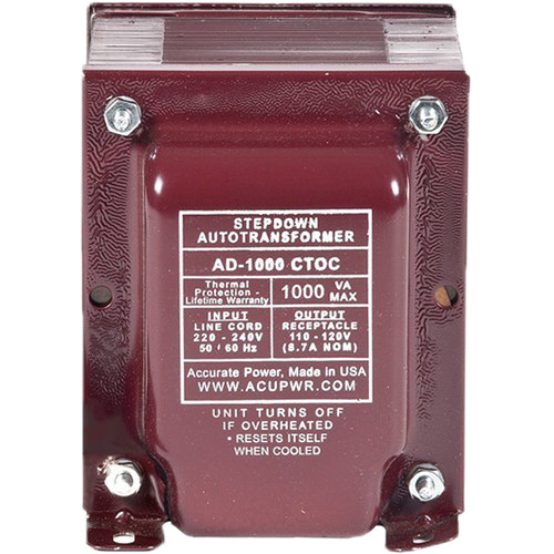 ACUPWR AD1000IEC Type-J 1000W Step-Down Voltage Transformer with Type-J IEC Plug