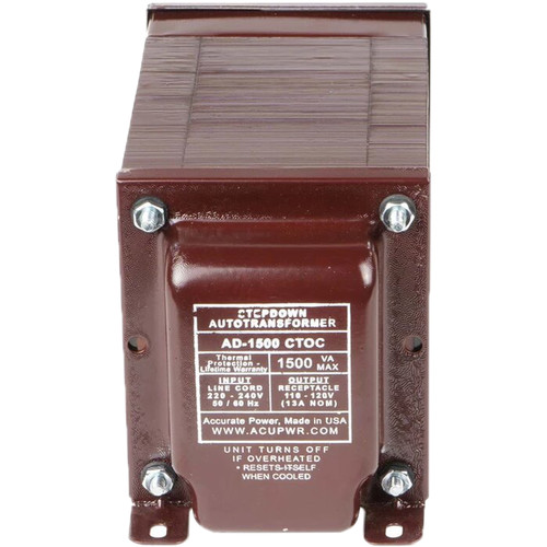 ACUPWR AD1500IEC Type-D 1500W Step-Down Voltage Transformer with Type-D IEC Plug