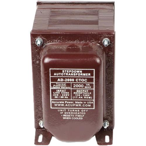 ACUPWR AD-2000IEC Type-B 2000W Step-Down Voltage Transformer with Type-B IEC Plug