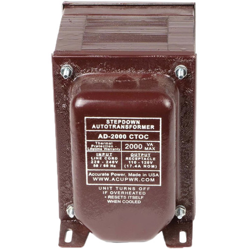 ACUPWR AD-2000IEC Type-H 2000W Step-Down Voltage Transformer with Type-H IEC Plug