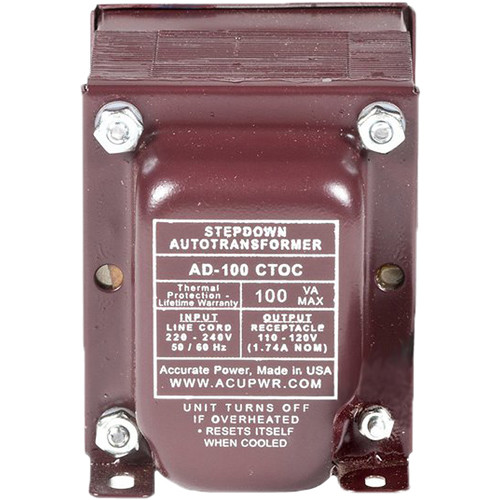 ACUPWR AD-200 Type-K 200W Step-Down Voltage Transformer with Type-K IEC Plug