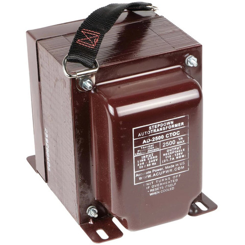 ACUPWR AD2500IEC-M 2500W Step-Down Voltage Transformer with Type-M IEC Plug