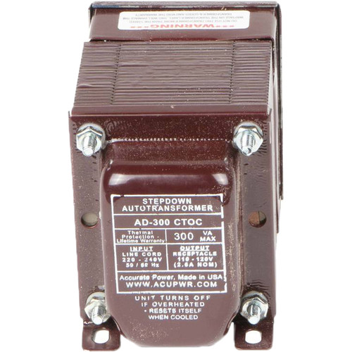 ACUPWR AD-300IEC Type-D 300W Step-Down Voltage Transformer with Type-D IEC Plug