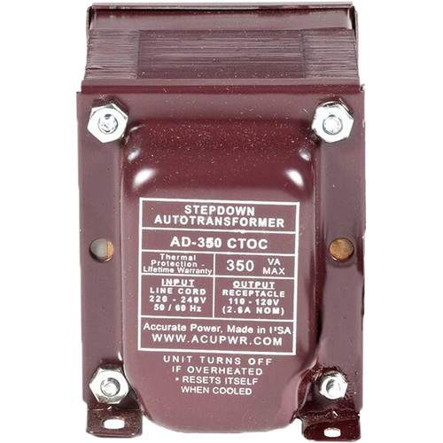 ACUPWR AD-350IEC Type-K 350W Step-Down Voltage Transformer with Type-K IEC Plug