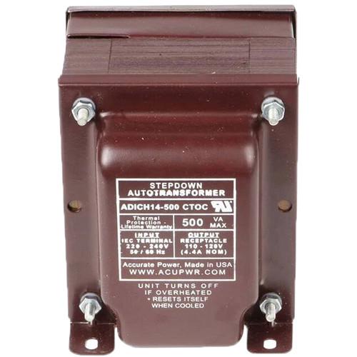 ACUPWR AD500IEC Type-D 500W Step-Down Transformer with {Type} IEC Plug