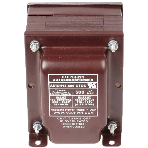 ACUPWR AD500IEC Type-G 500W Step-Down Transformer with {Type} IEC Plug